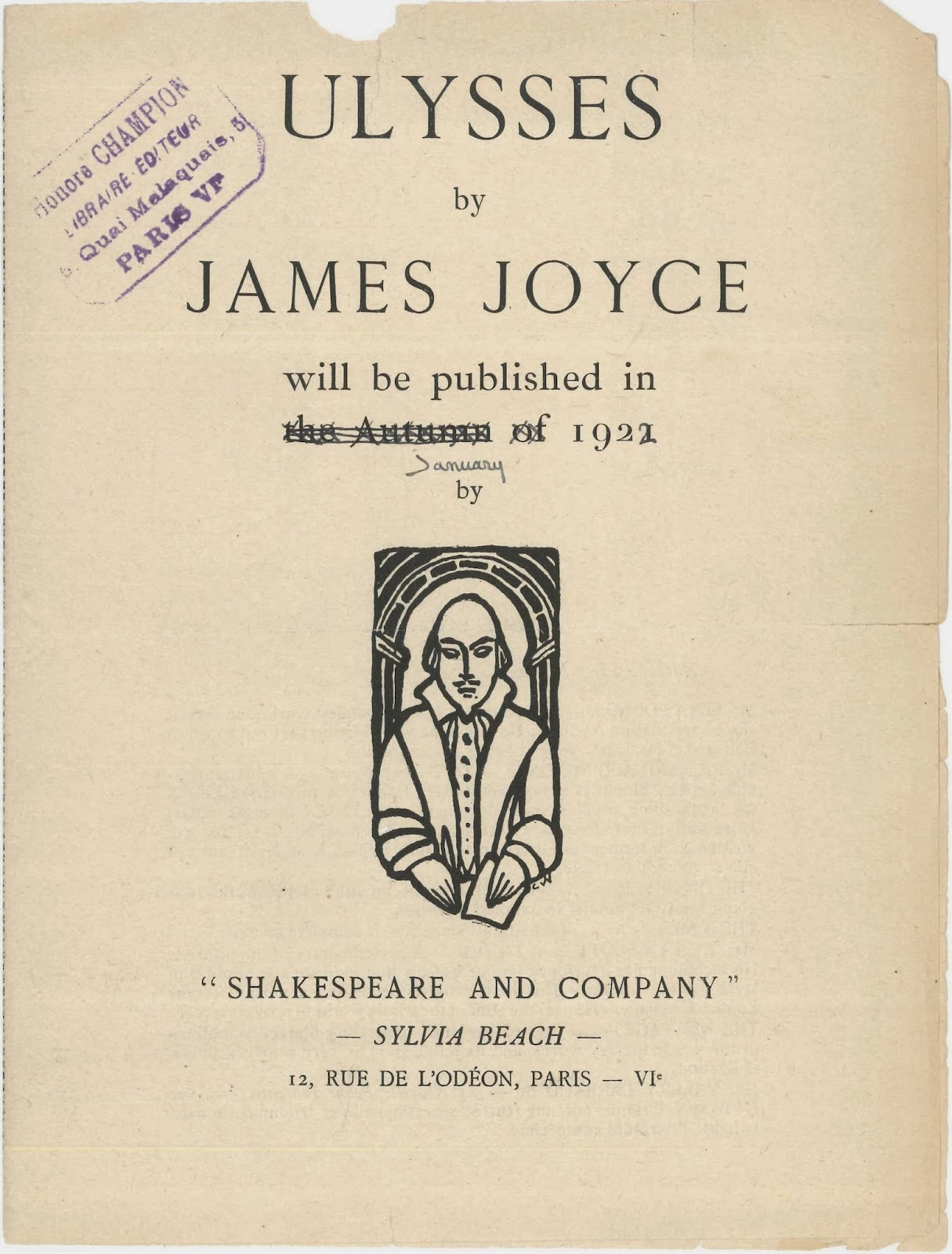 "A title page for Joyce's ""Ulysses."""
