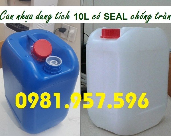 Can trắng 10L, can nhựa 10L, can đựng hóa chất các loại