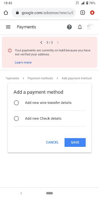 Google adsense sent to pin code
