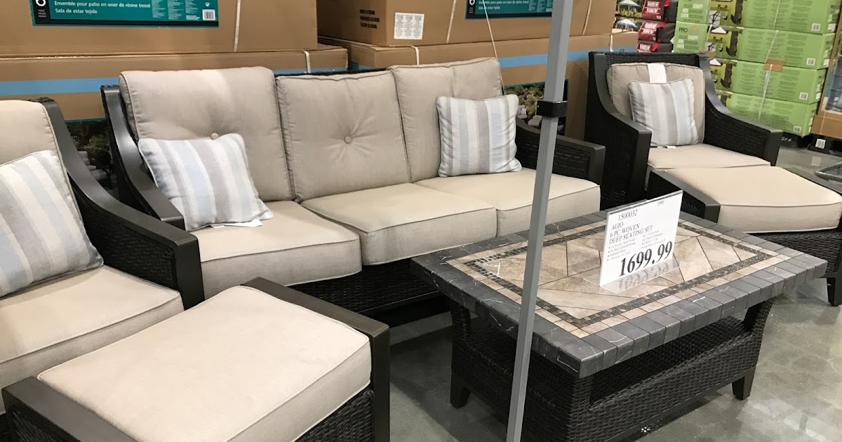 Agio 6 Piece Woven Deep Seating Set Costco Weekender