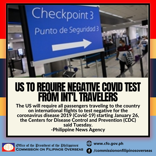 The US will require all passengers traveling to the country on international flights to test negative for the coronavirus disease 2019 (Covid-19) starting January 26, the Centers for Disease Control and Prevention (CDC) said Tuesday.