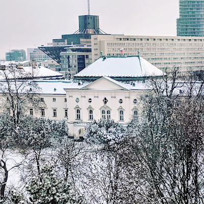 Presidential palace and Slovak Radio building in Bratislava in winter
