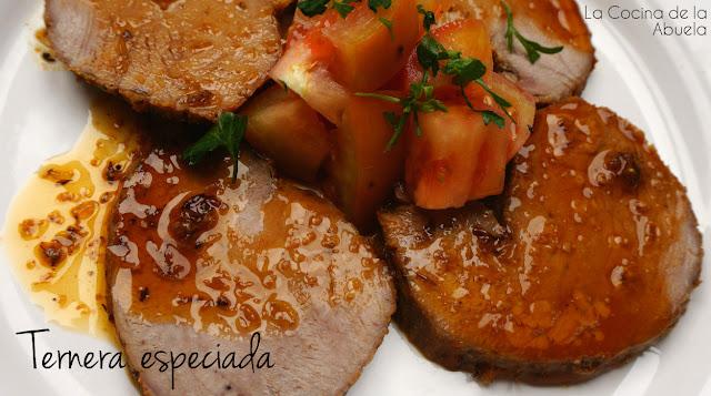 Ternera especiada naranja orégano pimentón receta presentación plato