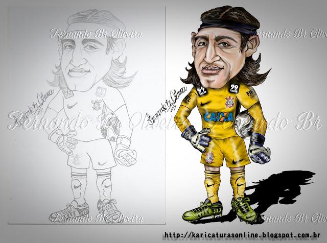 Esboço Caricatura Cássio Goleiro Corinthians 2012