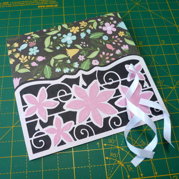 Die cut card pocket stick to front of DIY handmade greeting card black pink floral design