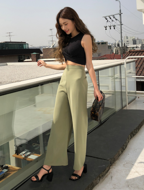 Elasticized Back Solid Tone Pants