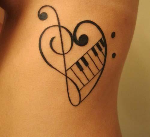 müzik notası kalp dövmesi musical note heart tattoo