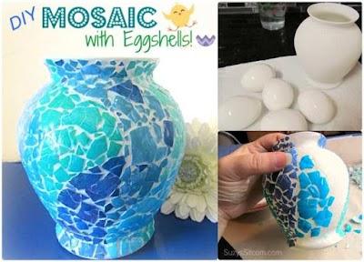 Artesanías mosaicos con cáscaras de huevos triturados