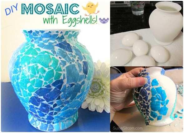 manualidades, mosaicos cáscaras huevos