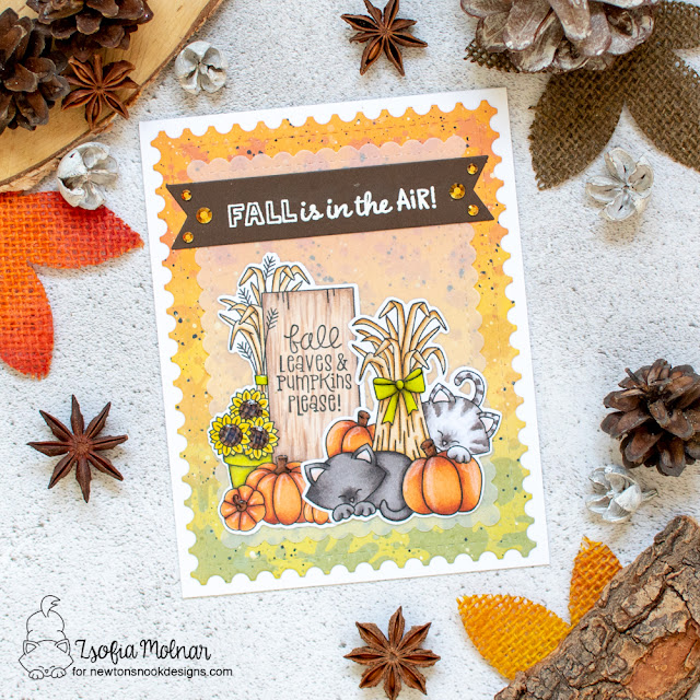Fall Wooden Sign with Cats Card by Zsofia Molnar | Signs of Fall Stamp Set, Autumn Newton Stamp Set, Falling Leaves Stencil and Framework Die Set by Newton's Nook Designs #newtonsnook