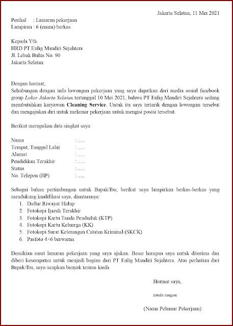 Contoh Application Letter Untuk Cleaning Service (Fresh Graduate) Berdasarkan Informasi Dari Media Sosial