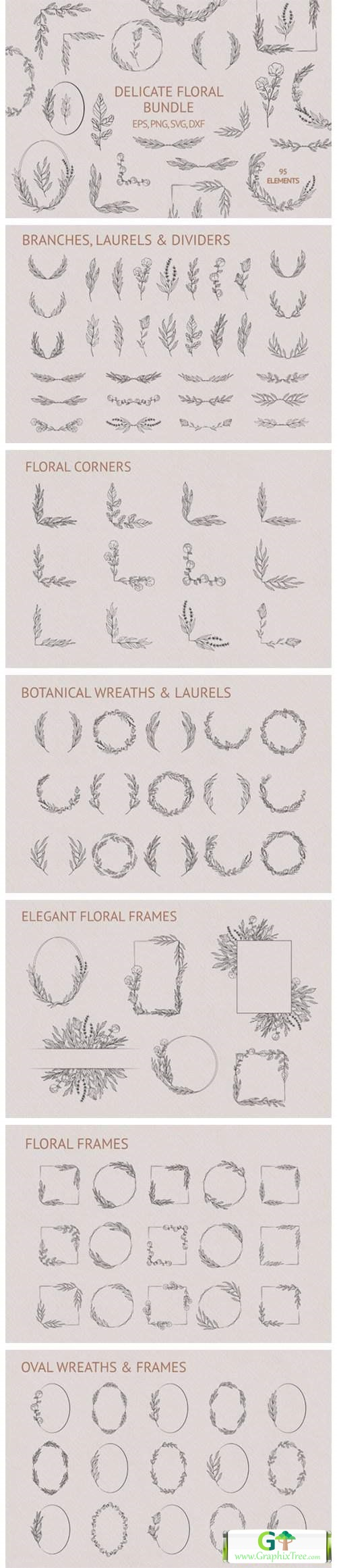 Hand Drawn Delicate Floral Bundle [Vector] [3D And Element Object & Web]