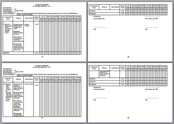 Program Semester PAI MI Kelas 2 Revisi 2019-2020 Kurikulum 2013