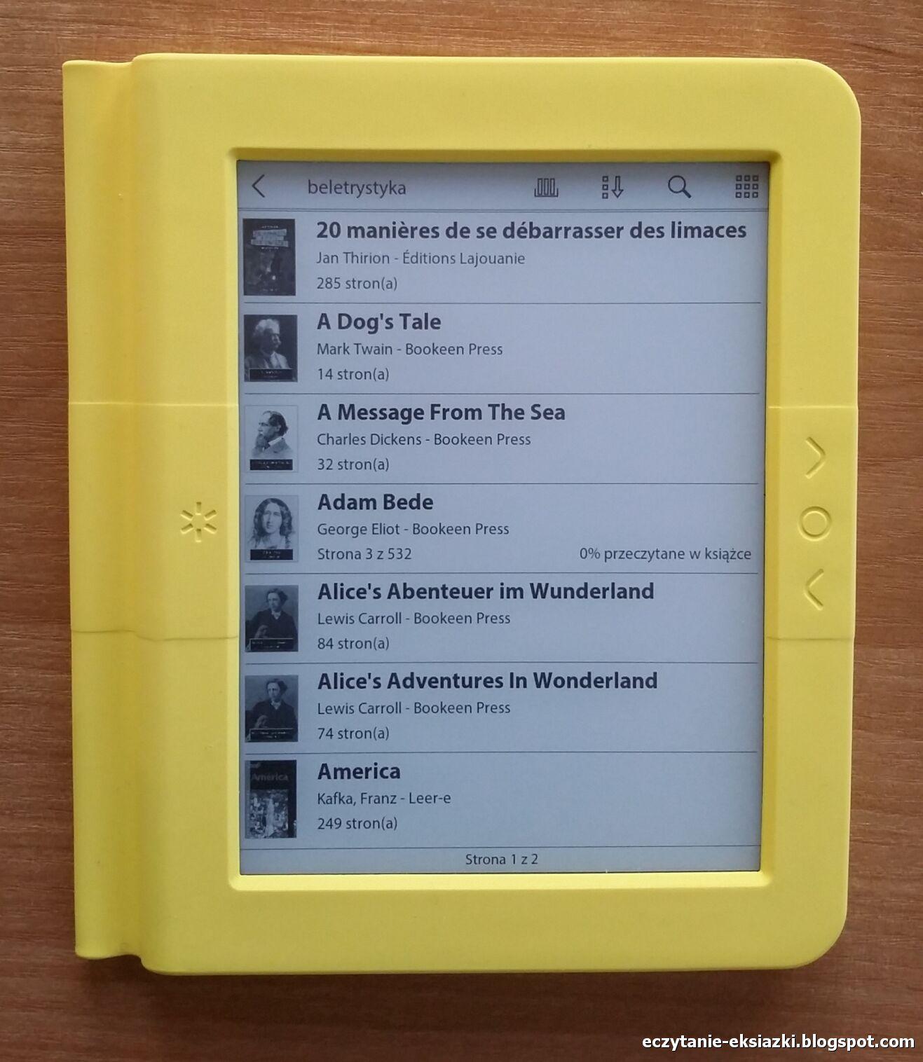 Widok listy w bibliotece czytnika Bookeen Saga