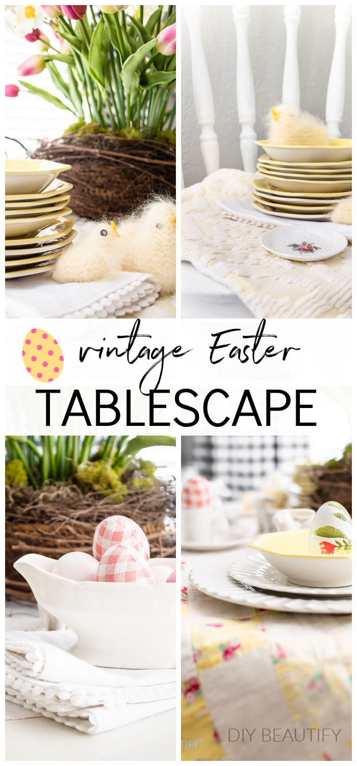 Easter table set with vintage dishes, handmade chicks and DIY eggs