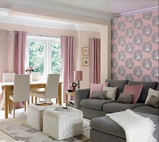 Diseño sala gris rosa
