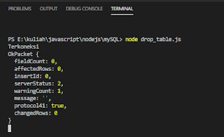 drop table node js if exists