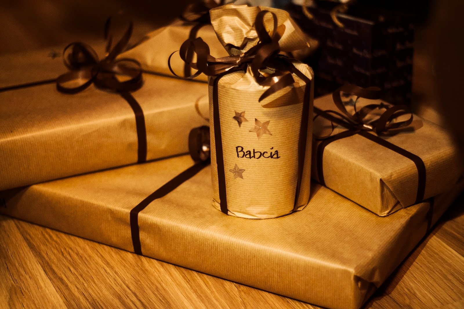 christmas presents wrapped in brown paper