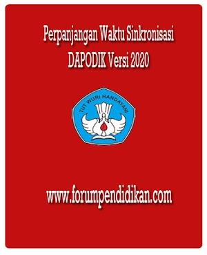 Perpanjangan Sinkronisasi Dapodik Versi 2020, Periode Semester 2 Tahun 2019/2020