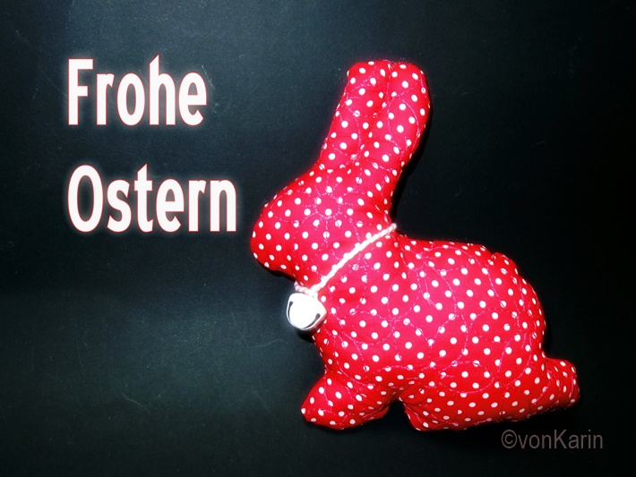 Roter Stoffhase - Frohe Ostern