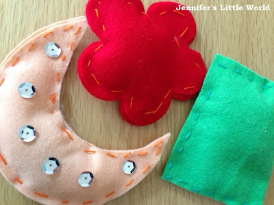 First sewing project for children - felt lavender bags