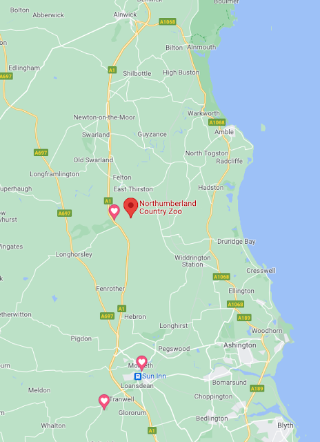 Northumberland Country Zoo Review (with a pushchair) - location map