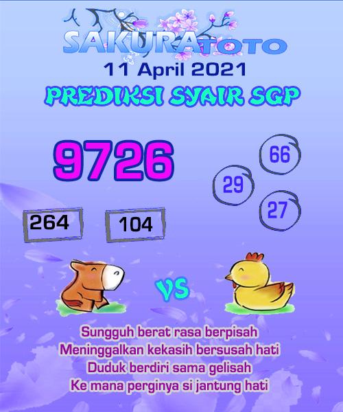Syair SGP Minggu 11 April 2021 -