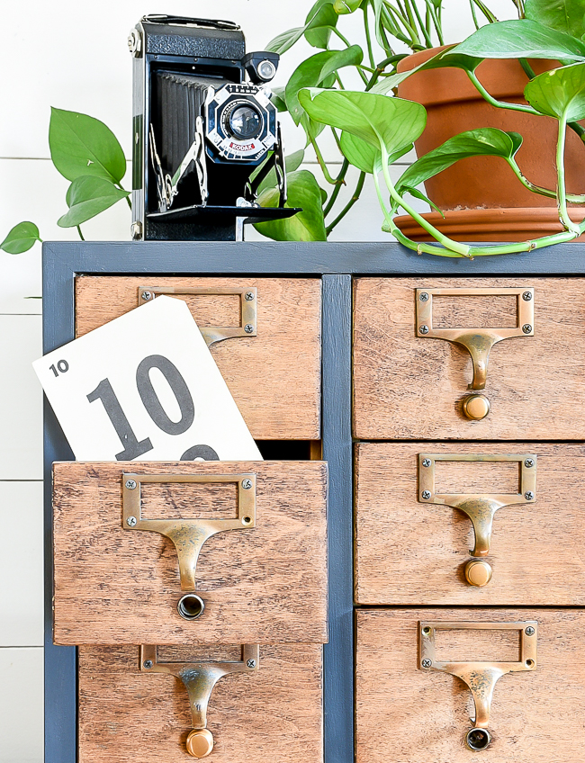 Repaired, painted and stained nine drawer card catalog makeover