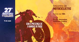 Encontro de Motociclistas abre as comemorações do aniversário de Cajati neste sábado