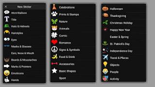 menu sticker di picsay pro