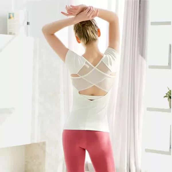 Nylon Mesh Short Sleeve Yoga Women Tops