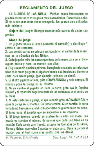 Baraja infantil Las Tortugas Ninja Fournier Carta Reglamento 2