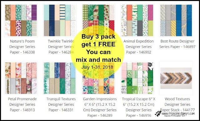 Stampin'Up! Designer Paper Buy 3 get one Free, Frenchiestamps,