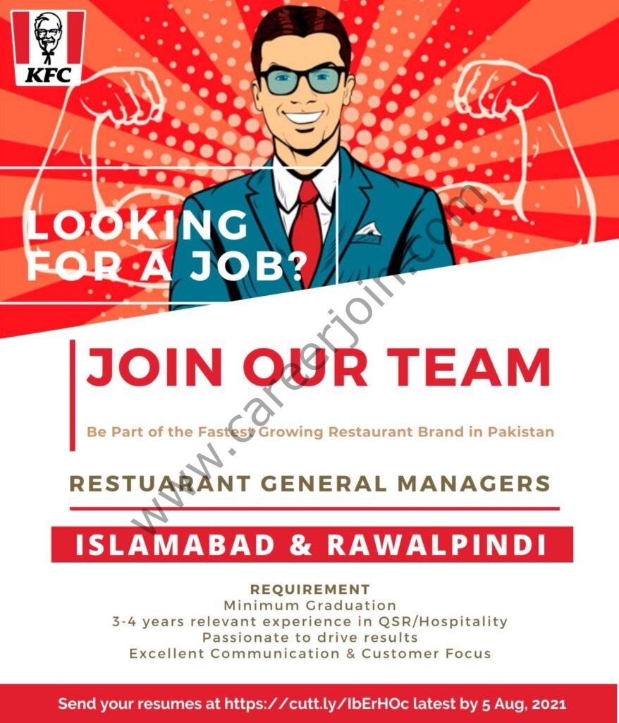 KFC Pakistan Jobs 2021 in Pakistan - www.kfcpakistan.com Jobs 2021