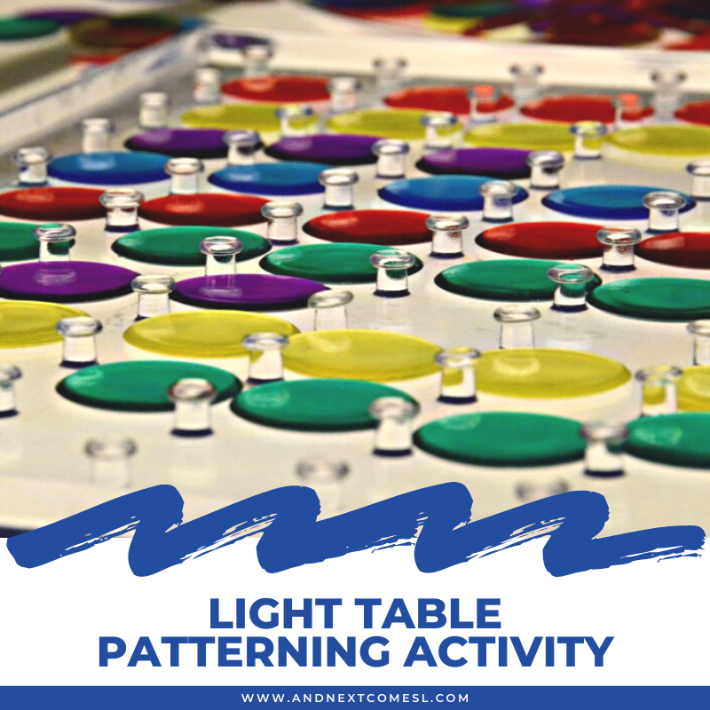 Light table patterning activity using a clear geoboard