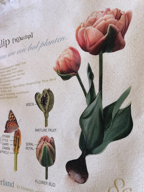 Canvas tote bag designed like a page of the flower encyclopedia.