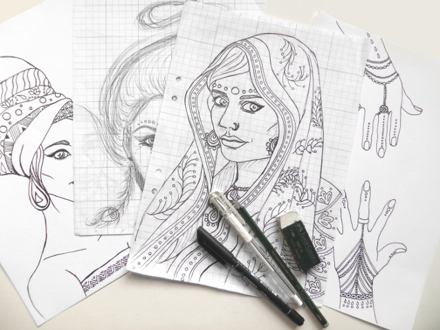 india africa portrait sketches coloring book