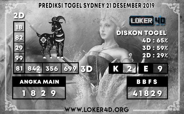 PREDIKSI TOGEL SYDNEY LOKER4D 21 DESEMBER 2019