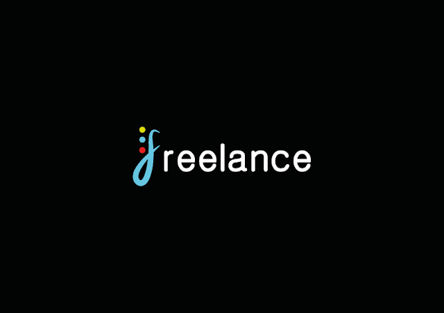 Image description: the word FREELANCE over a black background, the letter F is curly and blue, it has three dots on its side. One dot is yellow, the second one blue and the last one red. The rest of the word is written in white. End description