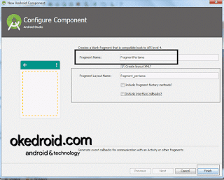 Configure Component Fragment Android Studio