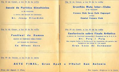 Encarte del Escacs Club Gran Cafè Espanyol