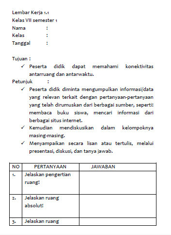 Lembar Kerja Ips Kelas 7 Kurikulum 2013 Edisi Revisi Mgmp Ips Indramayu