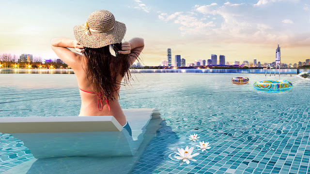 Bể bơi tràn bờ skypool Vinhomes Skylake