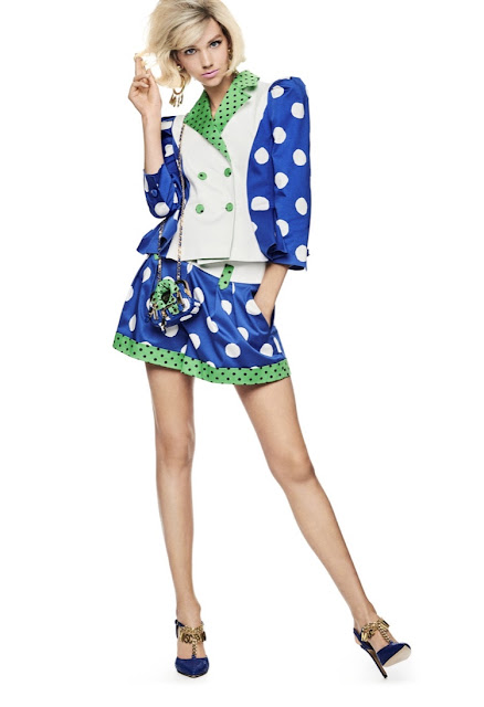 Moschino 1980s style power suit polka dots blue
