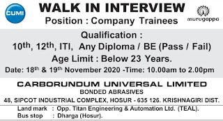 10th, 12th, ITI, Any Diploma/BE (Pass/Fail) Job vacancy Direct Walk In Interview in Carborundum Universal Limited
