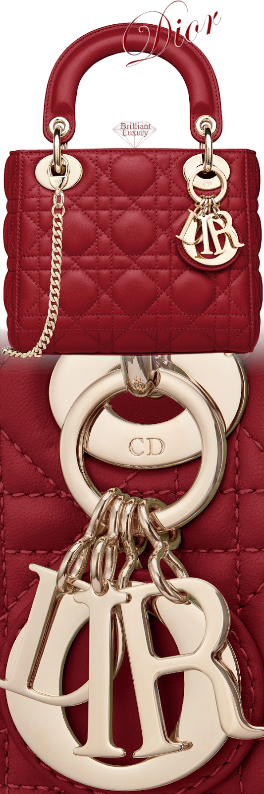 Dior Lady Dior Cherry Red Mini Lambskin Chain Bag #brilliantluxury