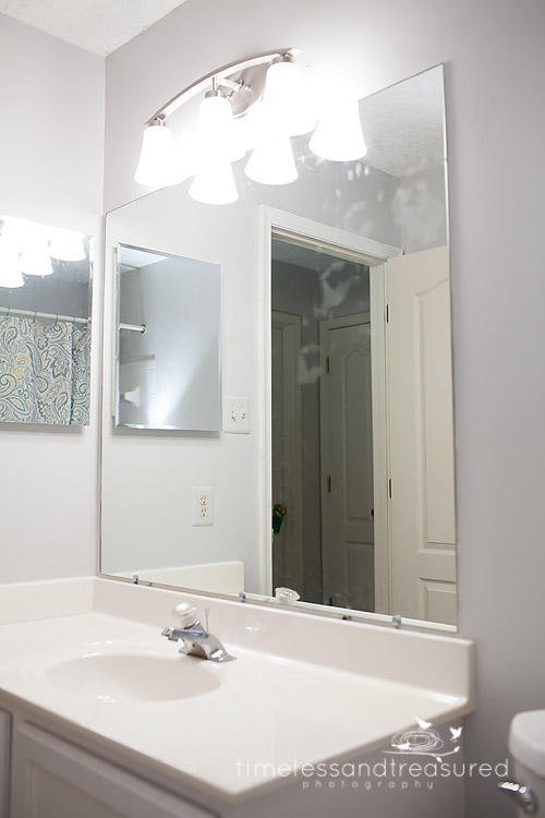 timeless and treasured my three girls how to frame a bathroom mirror. Black Bedroom Furniture Sets. Home Design Ideas