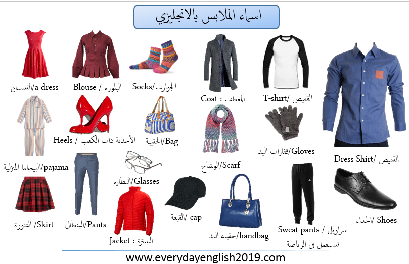 الملابس بالانجليزي