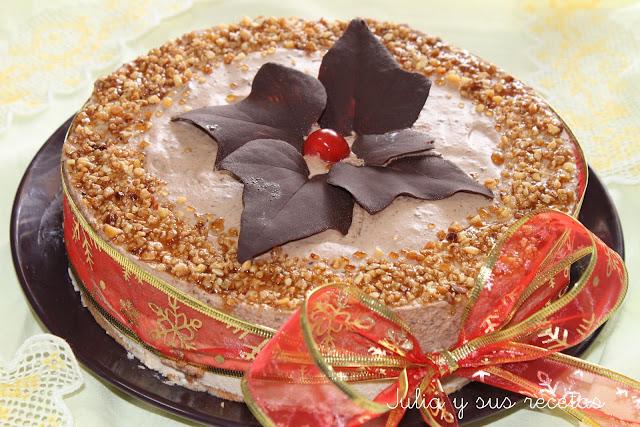 Tarta mousse de turrón y chocolate. Julia y sus recetas