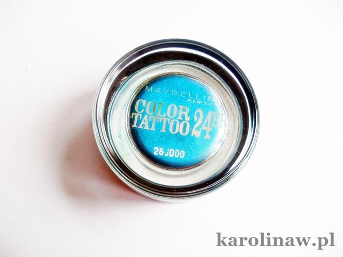 Maybelline Color Tottoo Turquoise Forever swatch review recenzja opinia blog zdjęcia kolor na oku trwałość